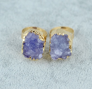 New arrival gold plated single amethyst druzy stone resizable finger rings