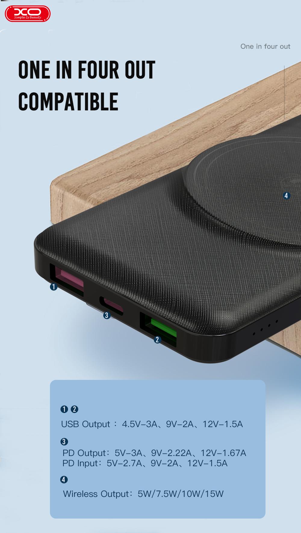 XO  PR128 Wholesale PR128 Power Bank QC22.5W PD 20W  10000 mAh Wireless   Power Bank Magnetic Power Bank Mobile Charger