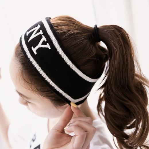 Бесплатная доставка, оптовая продажа, вязаная эластичная Спортивная Женская повязка на голову