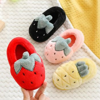 Dropshipping new design slippers children's cotton fruit winter warm cartoon indoor non-slip winter baby slippers