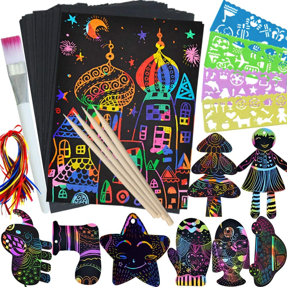 Rainbow Scratch Paper 5 Wooden Styluses Included Create Rainbow Scratch with Jumbo Craft Art Pack