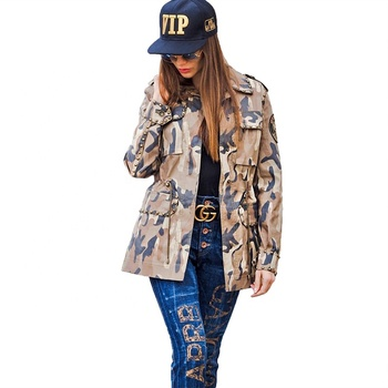 Fashion camo army green military cool denim jacket waist with adjustable drawstring women jacket women