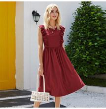 Длинное платье, элегантное женское платье, лоскутное платье без рукавов с рюшами, летнее повседневное женское платье с круглым вырезом, одн...(Китай)