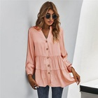 Top Women's Single Breasted Ruffled V-Neck Long Sleeve T-Shirt Blouse Top Casual