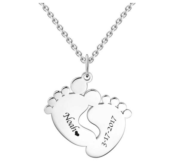 Silver Plated Personalized Baby Feet Necklace With Custom Name