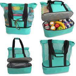 Уличная водонепроницаемая изолированная Складная сетчатая пляжная сумка-тоут для пикника, сумка-холодильник через плечо с молнией