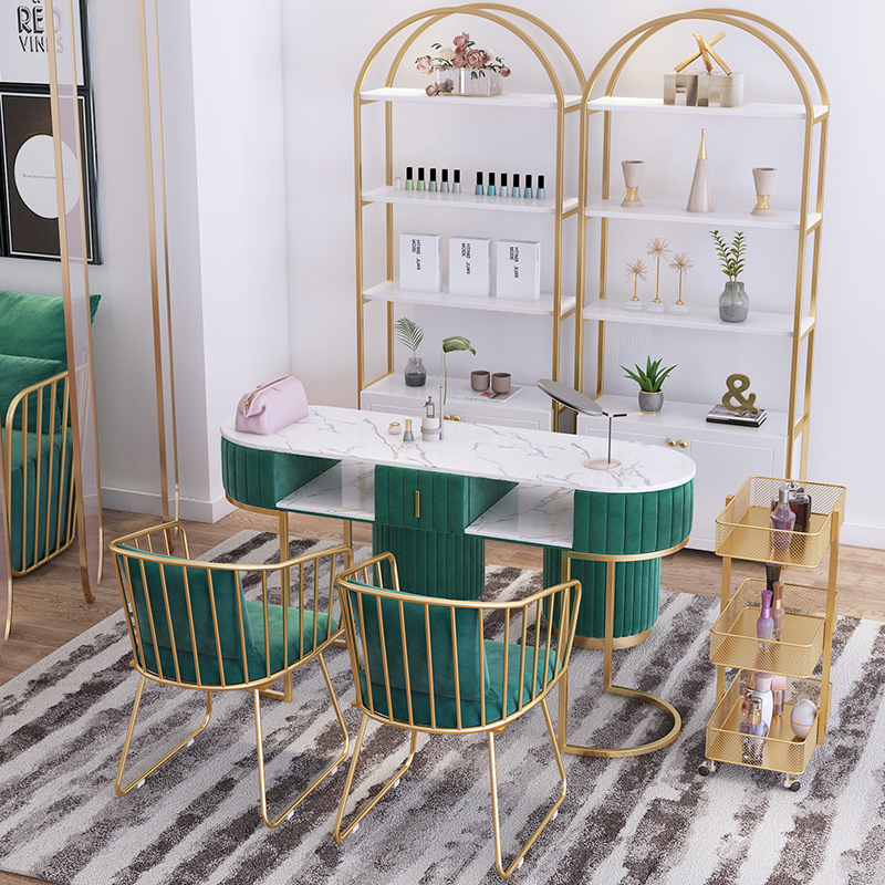 Wholesale 2021 Newest nail table and chair set Fashion Luxury marble top nail salon furniture single double seat manicure table