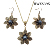 Hot- selling pearl decoration hawaiian plumeria flower tribal necklace and earrings sets black enameled