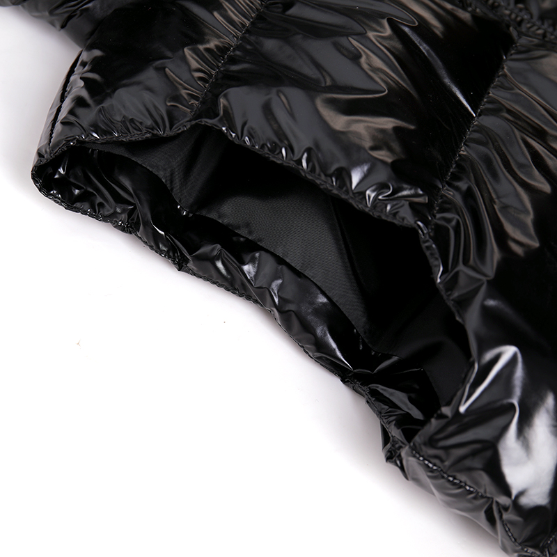 Custom Logo oem black high street utility padded shiny outdoor warm winter sleeveless glossy puffer bubble mens vest gilet