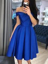LORIE королевские синие атласные платья для выпускного вечера, короткие Простые Вечерние платья с открытыми плечами для выпускного вечера, шк...(Китай)