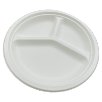 Good Quality Eco Friendly Bagasse Disposable 10 inch 3 Compartment Round Plate