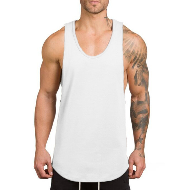 Спортивная одежда для тренировок большого размера, бодибилдинг, индивидуальный логотип, хлопковая пустая майка для мужчин