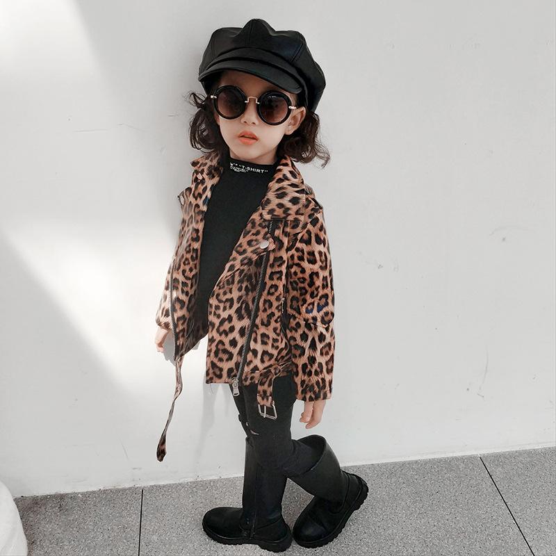 Новое поступление; Модная кожаная куртка с леопардовым принтом для маленьких девочек; Сезон весна-осень; Пальто на молнии для девочек; Одежда для детей