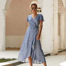 Летнее Элегантное Длинное платье для женщин 2020, макси платья с запахом, с принтом, с коротким рукавом, с v-образным вырезом, свободное, с высок...(Китай)