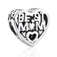 Подлинная серебряные бусины 925 пробы, Подходит для Pandora, очаровательный серебряный 925 оригинальный браслет I Love You MOM, бусины в форме сердца, сд...(Китай)