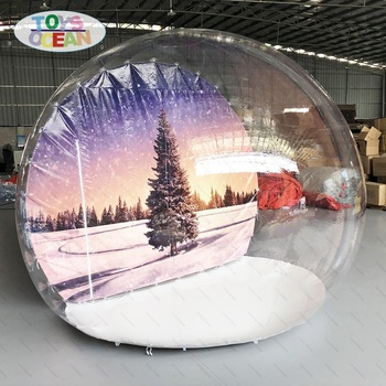 3m inflatable snow globe with tunnel display for Christmas event party show photo booth