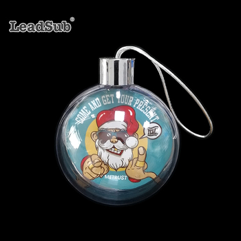 Leadsub christmas family ornaments tree decoration balls special design clear plastic Xmas balls with sublimation Aluminum sheet