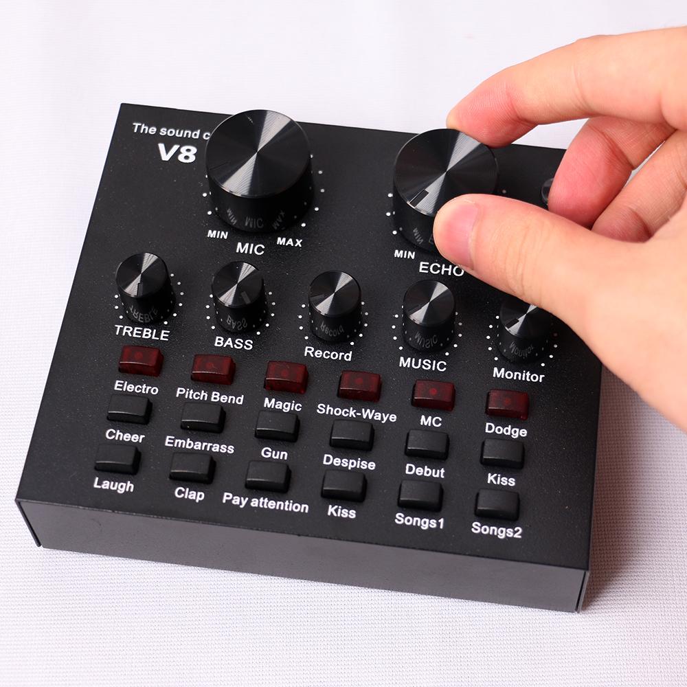 V8 Audio Interface Usb external phone live broadcast sound card For Mobile Live Recording Singing