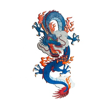 Chinese Dragon Intarsia Woodworking Wall Art Home Decor