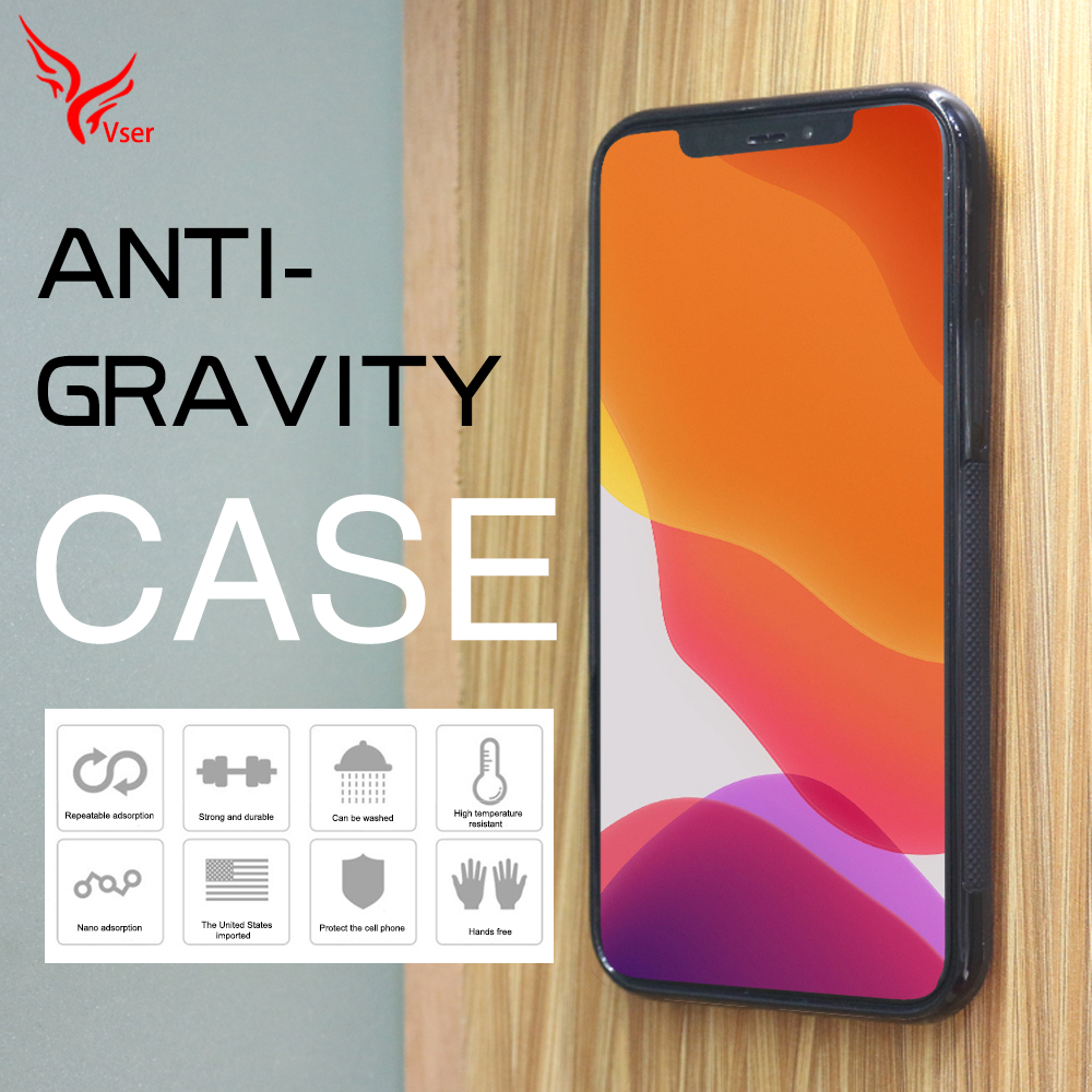 High Quality Anti-gravity Adsorption Sticky Nano Suction Anti Gravity Mobile Phone Cover Case For Iphone 11 pro max