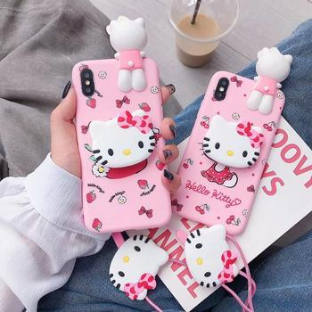 For iPhone 11 Pro Max 11 Pro Xs X 7 8 Hello Kitty 3D Doll Holder Stand Strap Cute Soft Case