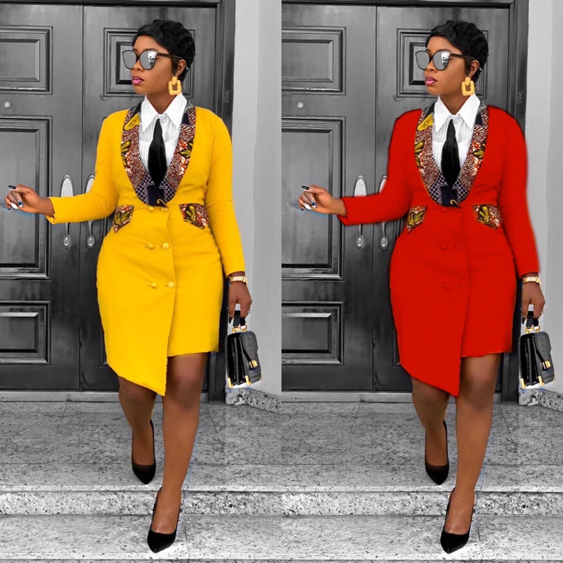 Европейское и американское платье осень/зима костюм платье с длинным рукавом с отворотом Африканское женское платье