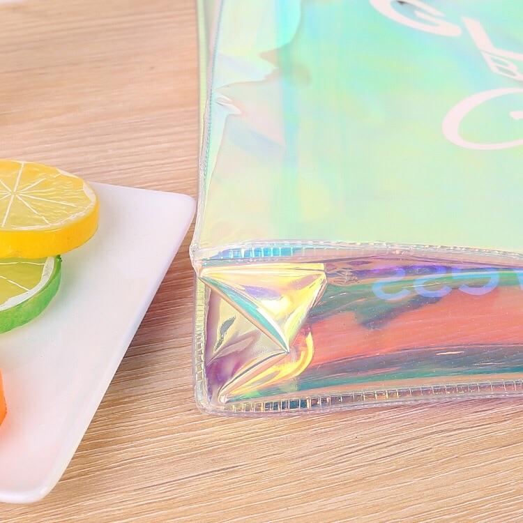 custom transparent PVC shopping bag holographic pvc tote bag