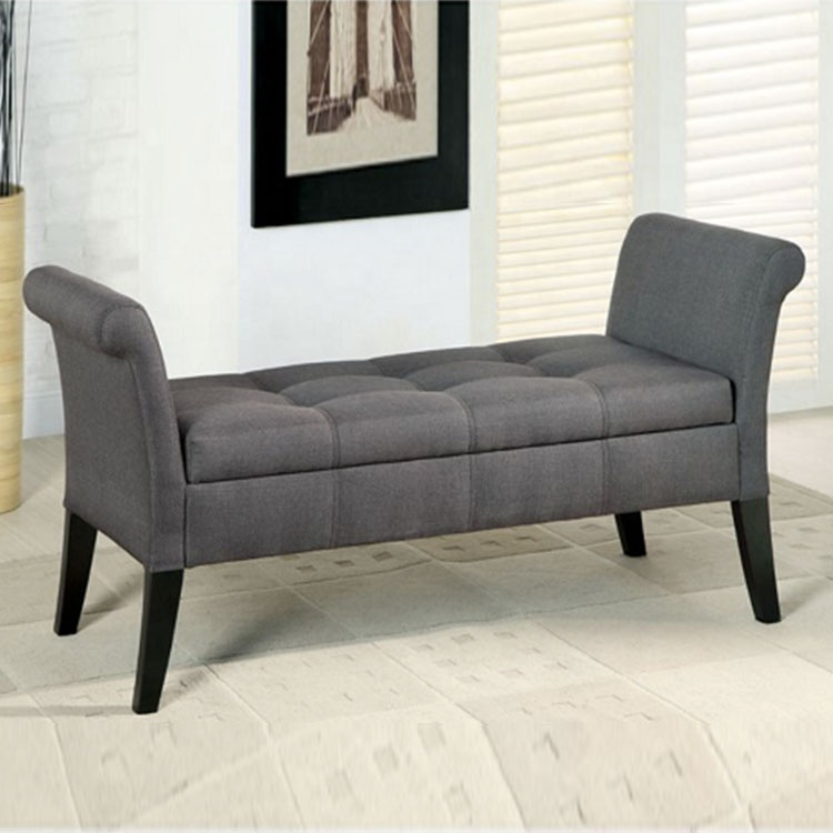 Modern hot sell gray fabric storage space table Ottman stool sofa