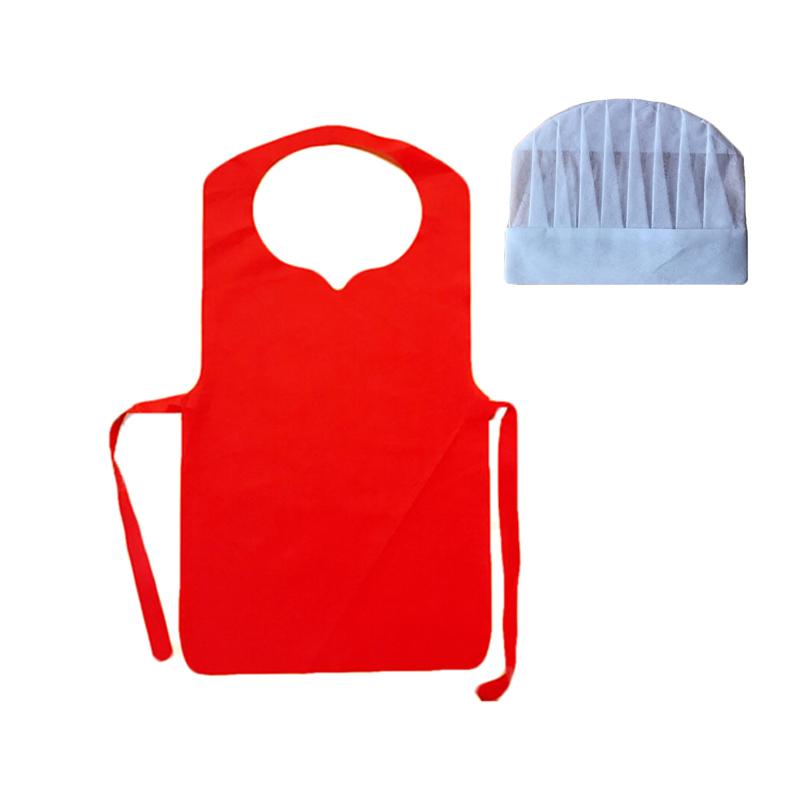 Мини-рюкзак для детей барбекю Детские нетканые одноразовые кухонные выпечки школьная ремесло картины DIY фартук и колпак шеф-повара набор