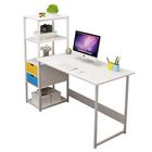 Modern white Laptop Computer Table stand scrivania Study Writing work escritorios home office desk with hutch