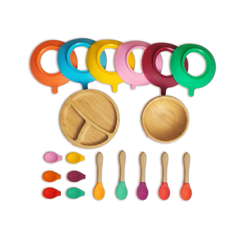 Network sell like hot cakes 100% bamboo is BPA free Multicolor baby silicone bowl set