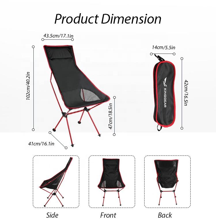 Алюминиевый складной альпинистский Сверхлегкий складной расслабляющий стул для кемпинга 150 кг с высокой спинкой на заказ