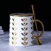 White + Golden lid + Golden spoon