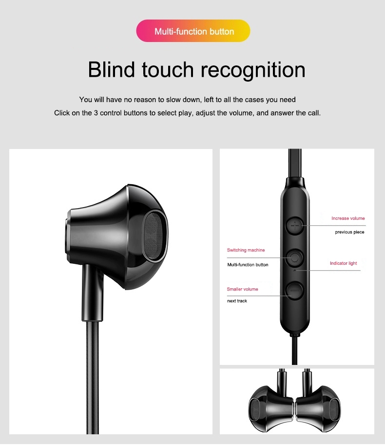2021 Novelty Stereo Wireless Bt Earphone Neckband In-ear Headphones