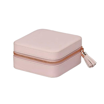 Small pink with zipper tassel jewelry case travel storage organizer cover for necklace earrings cosmetic makeup case