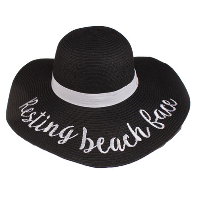 CMX037European and American ladies letter printing embroidery visor straw hats wide brim straw hat
