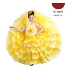 Цветочное украшение размера плюс, Элегантное свадебное платье-пачка для девочек, цыганское испанское платье с открытыми плечами для фламен...(China)