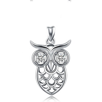 925 sterling silver cubic zirconia Animal owl necklace pendant for women