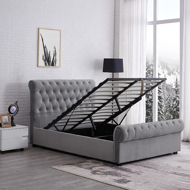 Crush velvet fabric chesterfield sleigh beds for UK market