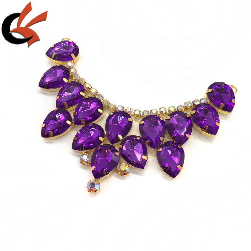 Newest Purple diamond Rhinestone Bikini Connector Buckle Chain Bridal Dress Clothing Decoration