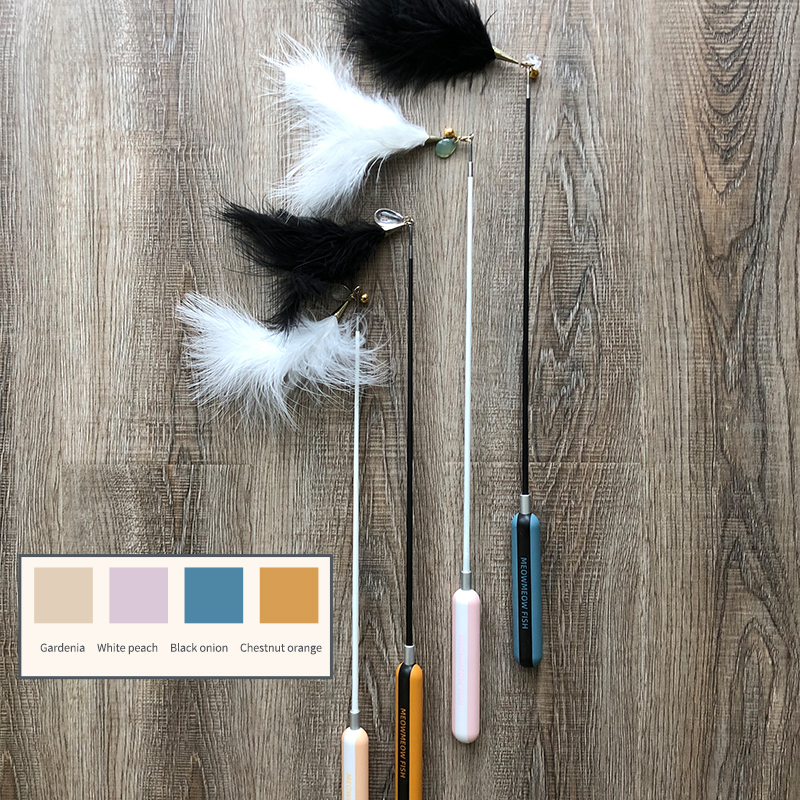 automatic cat feather toy AIWO Retractable teaser cat toy  High elastic cat teaser toy with feather