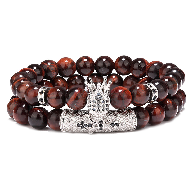 Оптовая продажа, роскошные украшения для рук для мужчин, 2 шт./компл., эластичный Набор браслетов из натурального красного тигрового глаза с микрозакрепкой фианита и королевской короны