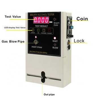 Coin Fuel Cell Sensor Sensor type and LCD Display digital alcohol tester