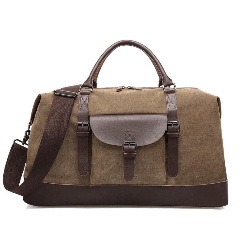 Vintage Retro waterproof Men gym Brown Canvas duffle bag for weekend outdoor travel overnight