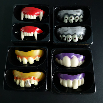 Halloween dentures funny and tricky vampire teeth zombie front teeth funny plastic soft buck teeth braces