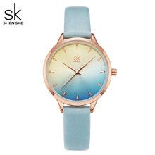 Shengke многоцветные женские часы, тонкие женские модные кварцевые часы, PU ремешок для часов, водонепроницаемые наручные часы, Relogio Feminino, подаро...(Китай)