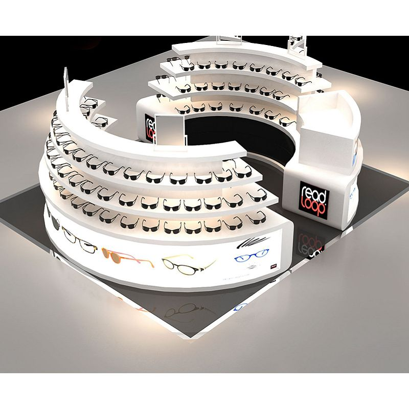 Factory Retail Eyeglass Showcase Glasses Case Eyeglasses Display Showcase with LED Lights