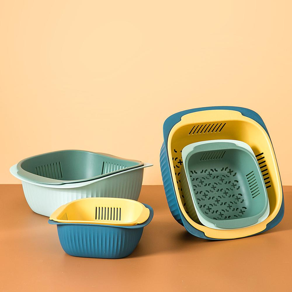 2pcs/set Kitchen Sink Double Drain Basket Wash Fruit Colanders Drainer Basin Vegetables Drain Sieve Food Washing Strainers