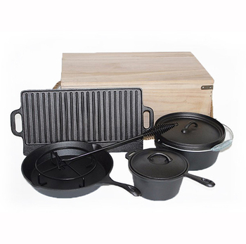 hot selling Private Label 6pcs Outdoor Camping cooking pots cast iron cookware set manufacturer