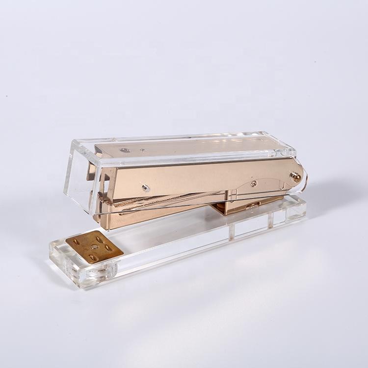 Пользовательский акриловый золотистый бумажный степлер, металлический школьный офисный книжный канализатор